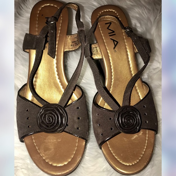 MIA brown leather rose appliqué wedge sandals